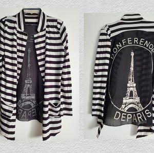 Paris black eiffel tower sheer stripe jacket med